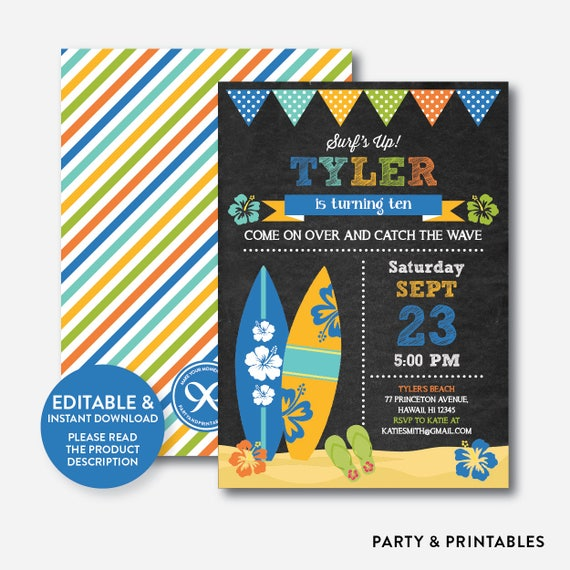 Instant Download Editable Luau Surf Birthday Invitation Surfer