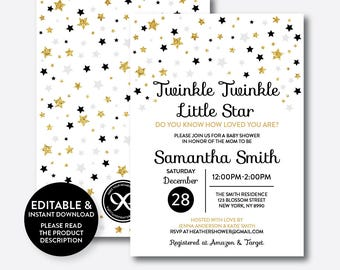 Instant Download, Editable Twinkle Twinkle Little Star Baby Shower Invitation, Blue and Gold Invitation, Gold Glitter Invitation (GBS.07)
