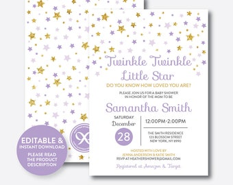 Instant Download, Editable Twinkle Twinkle Little Star Baby Shower Invitation, Blue and Gold Invitation, Gold Glitter Invitation (GBS.08)