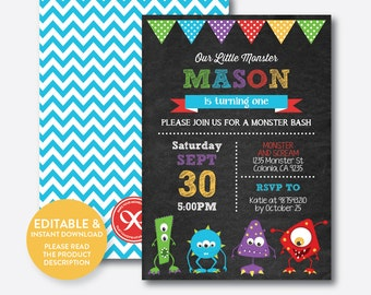 Instant Download, Editable Monster Birthday Invitation, Monster Invitation, Monster Party Invitation, Monster Bash, Chalkboard (CKB.32B)