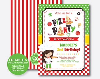 Pizza party invite etsy instant download editable pizza birthday invitation pizza party stopboris Image collections