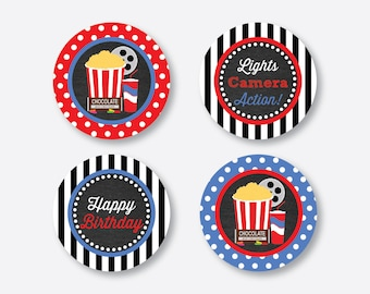 """Instant Download, Movie Cupcake Toppers, Movie Night Cupcake Toppers, Party 2"""" circles, Gift Tags, Favor Tags, Thank You Tags (CKB.169)"""