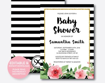 Instant Download, Editable Black and White Baby Shower Invitation, Floral Baby Shower Invitation, Flower Baby Shower Invitation,Girl(FBS.01)
