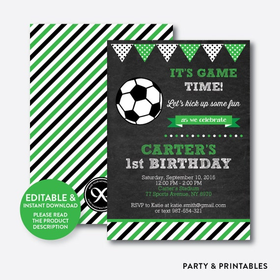 Instant Download Editable Soccer Birthday Invitation Soccer Ball