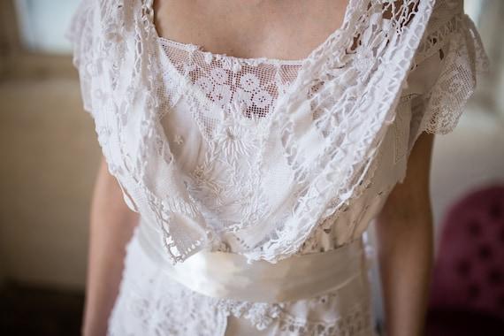 edwardian antique wedding dress. 1910 bobbin lace wedding | etsy