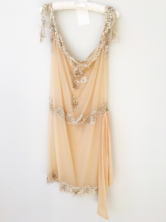 1920s Flapper Dress. Antique Wedding Dress. Vintag