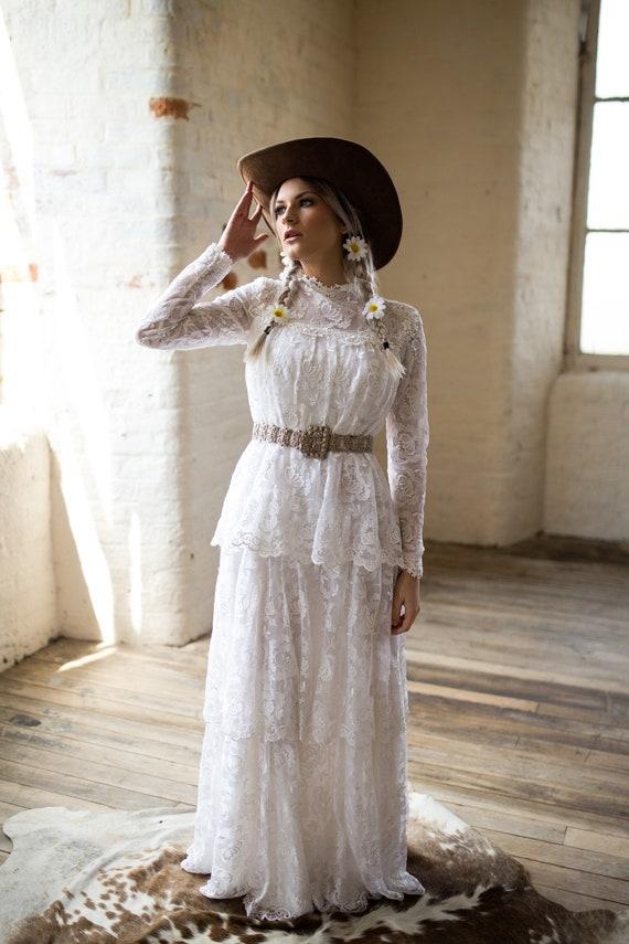 Hochzeitskleid Vintage Spitze Brautkleid Boho Brautkleid Etsy