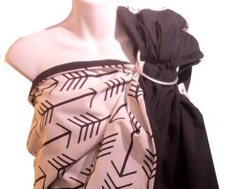 b46fda04543d Sling à anneaux Blossom réversible, noir et flèches noires pour porter bébé,  ring sling réversible en coton, porte-bébé sling, Écharpe bébé