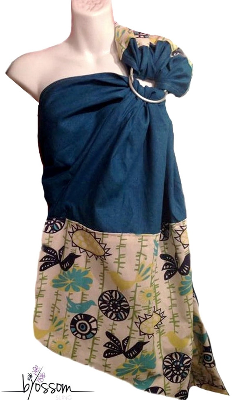 A Quelle Temperature Laver Le Lin ring sling blossom, linen teal blue and birds yellow, baby carrier, ring  sling linen, baby wrap
