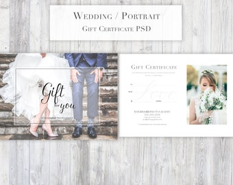Photography Gift Certificate Template PSD for Photoshop - Portrait/Wedding/Glamour All-purpose gift certificate elegant modern