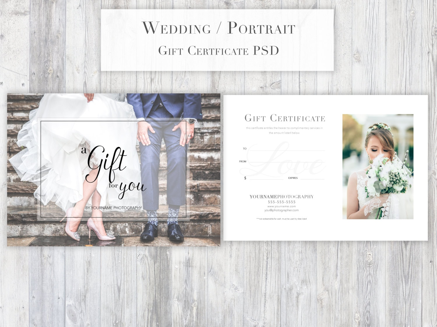 Photography Gift Certificate Template Psd For Photoshop Etsy