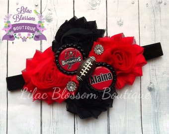 Tampa Bay Buccaneers Personalized Shabby Headband, Baby Girl Headband, Infant TB Bucs Bow, Buccaneers Baby Headband, Baby Tampa Bay Outfit