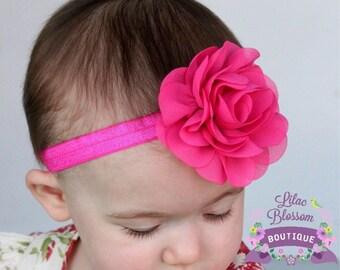 Hot Pink Chiffon Flower Headband, Baby Headband, Newborn Headband, Pink Baby Bow, Baby Girl Headband, Shabby Chic Headbands, Infant Headband