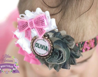 Personalized Camo Baby Headband, Hunting Girl Bow, Pink Camo Hair Bow, Baby Shower Gift Redneck, Daddy's Little Hunter, Camo Girl Outfit