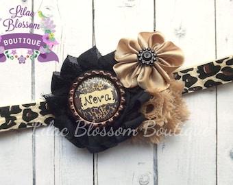 Personalized Cheetah Print Shabby Headband, Clip, Barrette, Baby, Newborn, Toddler, Leopard Baby Bow, Black Cheetah Infant Headband, Newborn