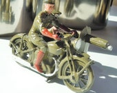 Vintage Britains Toy Soldiers Military Motorcycle and Sidecar with a Machine Gun