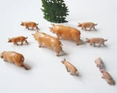 Toy Farm Pigs JoHillco Pastural Tabletop Landscape Boar, Sow,7 piglets, and small shrubbery