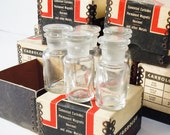 Apothecary Bottles 5 Piece Set found with Industrial Boxes Nice Clean Vintage Bottles with Ground Glass Lids
