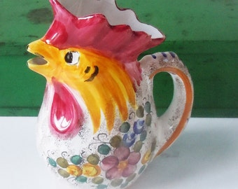 Vintage Italian Chicken Pitcher / Deruto Italy...MGP / Great Condition / Lots of Color