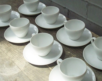 Simple White Cup and Saucer / Set of 8 / Bone China / Mixes well with everything