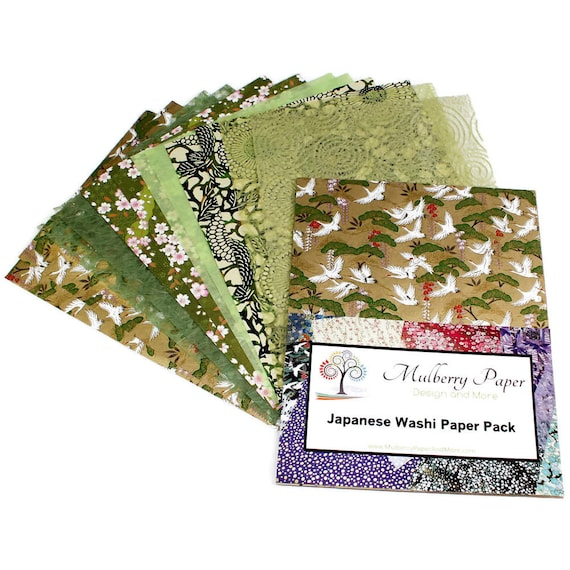 Decorative Japanese Washi Paper Pack In Green Designs 12 Etsy