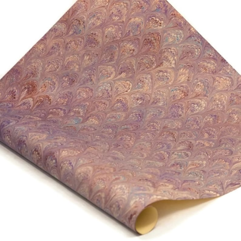 Purple Peacock Hand-Marbled Paper Imported From Italy