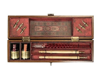 Complete Calligraphy Set - Windsor Prose - Includes Wood & Glass Styluses, Nibs and Ink