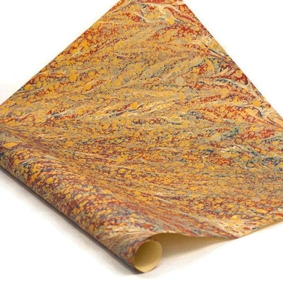 Hand-Marbled Paper Imported From Italy Bird Wing Rainbow