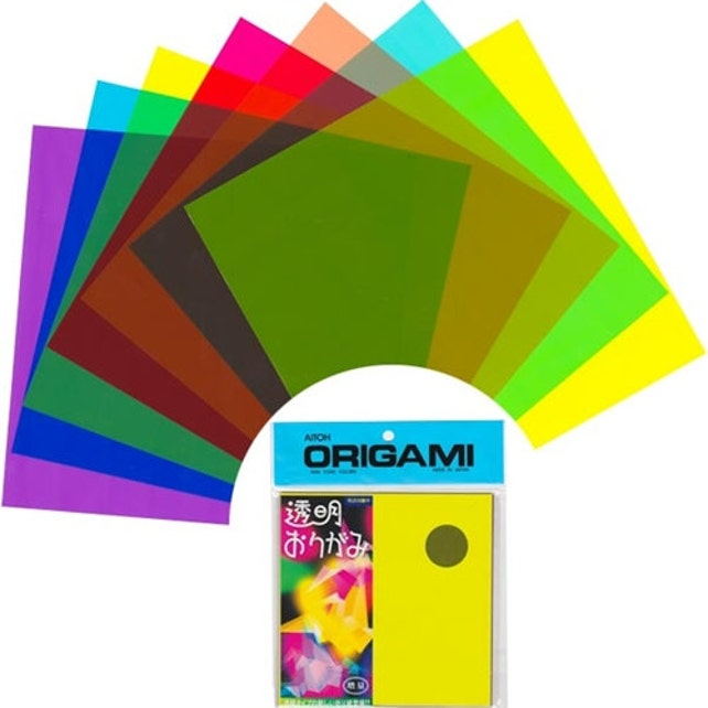 Transparent Plastic Origami Paper Pack Assorted Colors Etsy