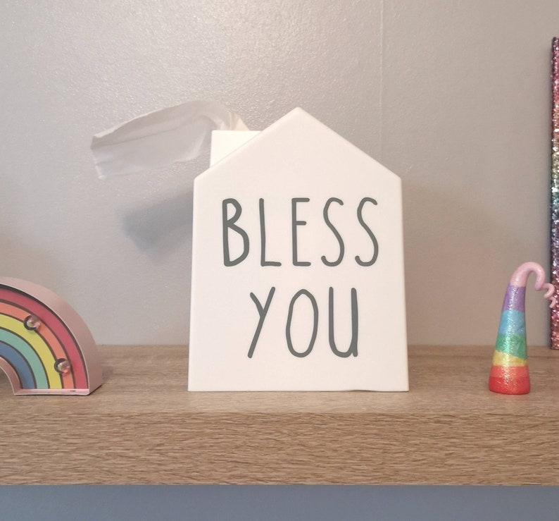 Bless you white tissue house home shape box cover bless this house  farmhouse style