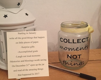 Collect moments not things happiness count your blessings jar