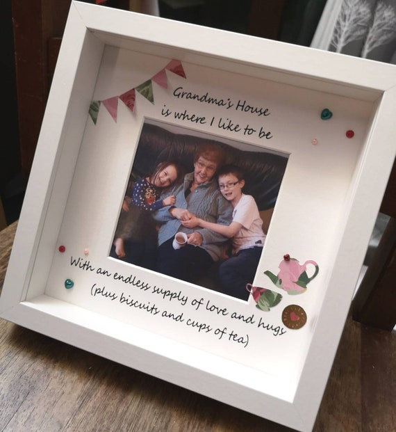 Personalised family button head box frame picture for Nan Grandad Grandparents