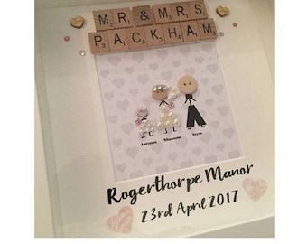 Mr and mrs wedding stickmen personalised button head scrabble frame gift any colour scheme