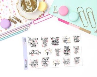 VALENTINE / LOVE QUOTES Paper Planner Stickers