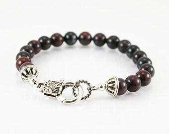 Mustang jasper mens bracelet, mens bracelet, gemstone bracelet, gemstone men bracelet,  beaded bracelet, men jewelry, gift for him