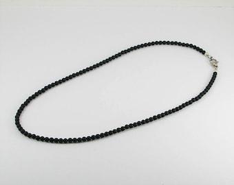 Natural matte black onyx mens necklace,mens necklace, men jewelry, black onyx necklace, unisex necklace, men gift,