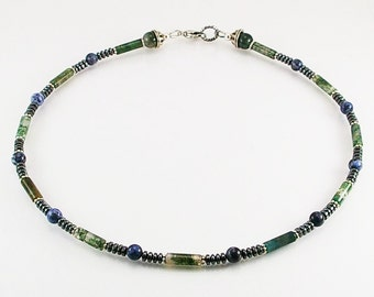 Moss agate mens necklace with sodalite , mens necklace, mens beaded necklace, mens stone necklace,mens gift,healing necklace