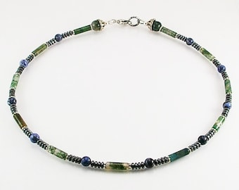 Sodalite mens necklace with moss agate , mens necklace, mens beaded necklace, mens stone necklace,mens gift,healing necklace