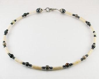 Riverstone mens necklace with picasso jasper , mens necklace, mens beaded necklace, mens stone necklace,mens gift,healing necklace