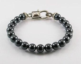 Hemalyke mens bracelet, mens bracelet, gemstone bracelet, hematite bracelet, men jewelry, beaded bracelet, men gift, unisex bracelet