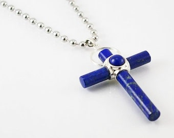Lapis lazuli  mens necklace with cross pendant with stainless steel chain, mens necklace, mens pendant, mens jewelry, cross, mens gift idea