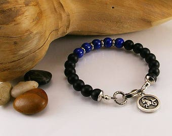 Men zodiac gemstone bracelet with matte black onyx, lapis lazuli and zodiac sign, gemstone bracelet, bracelet, men bracelet, men jewelry,