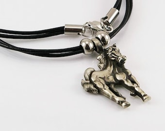 Horse pendant in free lead pewter on leather cord, mens necklace, men pendant, horse pendant, horse, men jewelry, leather necklace, men gift
