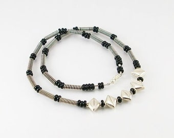 Mens necklace in black onyx with Rajasthani sterling, mens necklace, black onyx necklace, men jewelry, men gift, unisex necklace