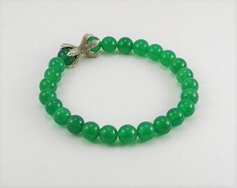 Men  gemstone bracelet with green onyx and dragon claw, gemstone bracelet, bracelet, men bracelet, men jewelry, dragon style bracelet