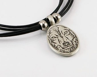 Wolf mens necklace with pendant in free lead pewter on leather cord, mens necklace, mens pendant, wolf pendant, unisex necklace, wolf