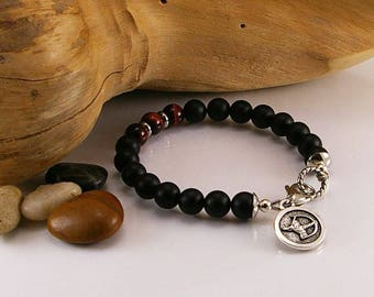 Men zodiac gemstone bracelet with matte black onyx and red tigereye with zodiac sign, gemstone bracelet, bracelet, men bracelet, men jewelry