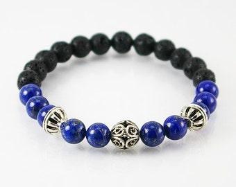 Lapis lazuli and lava rock bracelet, mens bracelet, gemstone bracelet, men jewelry, unisex bracelet, men gift, lava rock, spiritual bracelet
