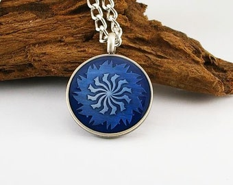 Swirl pendant on aluminum chain, mens necklace, mens pendant, mens jewelry, mens gift, mens chain, swirl pendant
