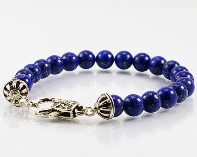 Featured listing image: Mens bracelet Lapis lazuli bracelet, mens bracelet, gemstone bracelet, gemstone men bracelet,  beaded bracelet, men jewelry, gift for him